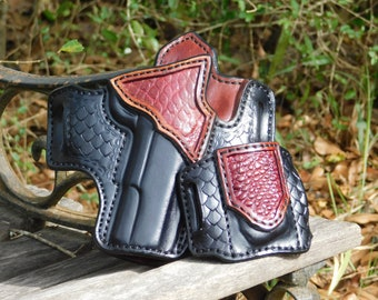 Draco - Alligator Accent with Dragon Scale Tooling - Outside the Waist Band Leather Holster
