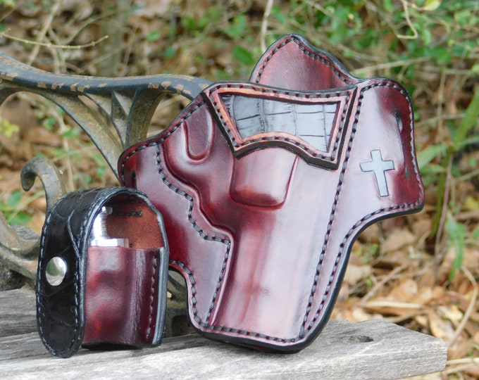 Featured listing image: The St. George - Alligator Accent Outside the Waist Band Leather Holster