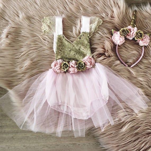 c3b3b036a7a Pink Unicorn Birthday Dress Unicorn Party Dress First