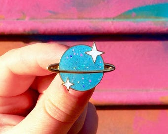 Holographic Glitter Planet Enamel Pin