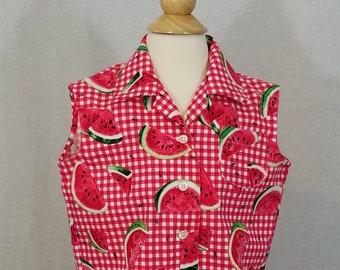 cherry orange urban lemon. vintage blouse blouse Vintage FRUIT Blouse..size xlarge womens..mod ladies mad men womens