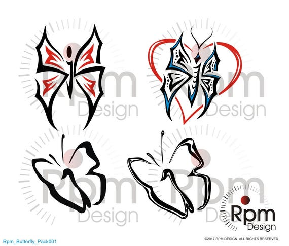 Butterfly SVG File, Butterfly, Butterflies, Heart, Tribal