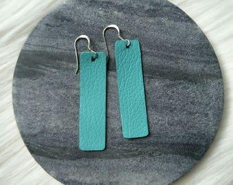 d024e21f1 Leather earrings- Bar design in tiffany green. Hypoallergenic sterling  silver hooks. Light weight earrings.