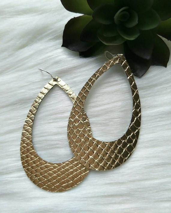 Leather earrings- Bar design in silver snake Light weight earrings CLEARANCE! Hypoallergenic sterling silver hooks