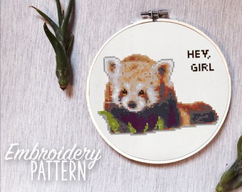 Embroidery Pattern - Raccoon Cross Stitch Pattern - Hey Girl