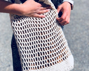 Crochet pattern - Summer Shopping Bag | Crochet Cotton Net | Mesh Market Bag | Do It Yourself Scandinavian Summer Bag | The Oslo Summer Bag