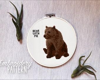 Embroidery Pattern - Bear Cross Stitch Pattern - Bear with me