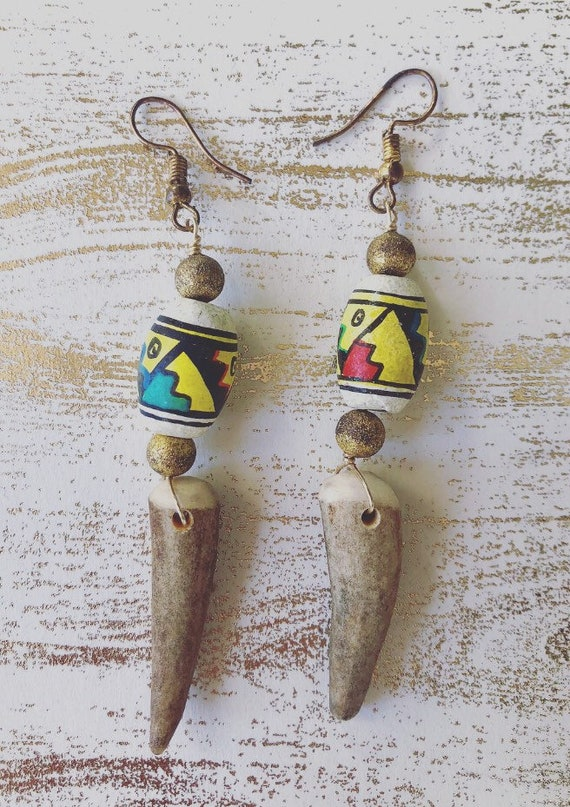 Tribal Elk Earrings
