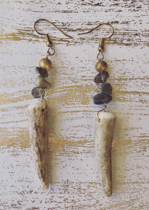 Elk and Stone Earrings (tri color)