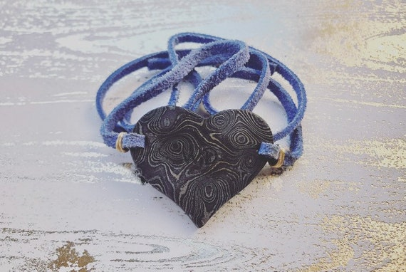 Damascus Heart On My Sleeve Bracelet
