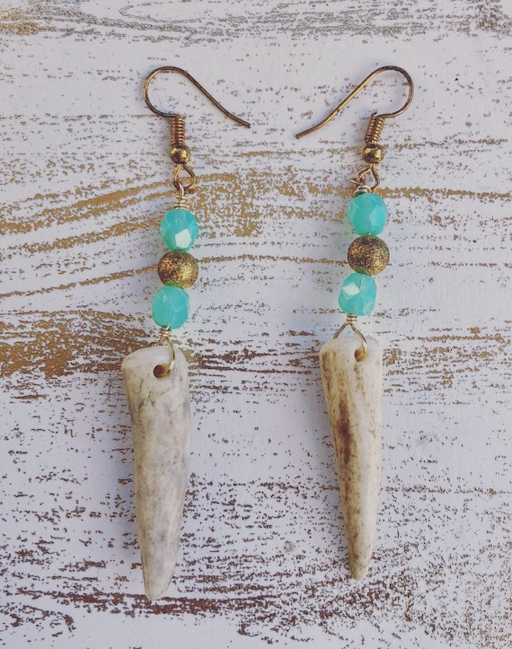 Golden Blue Elk Earrings