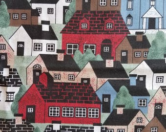 Colorful House Pattern Odd Cut Fabric