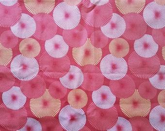 Red Star Burst Cotton Odd Cut Fabric