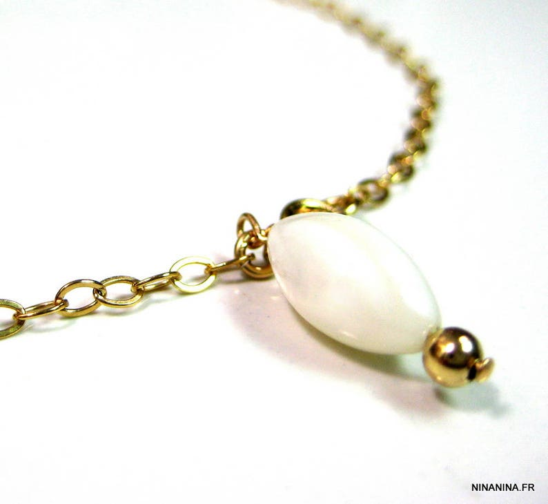 gold filled Gold plated ankle chain and mother of Pearl N2556
