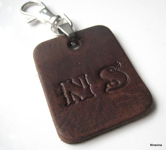 Porte-clé cuir personnalisé INITIALES N3093   Etsy a5a944e6229