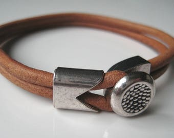 Men's leather N2675 bracelet