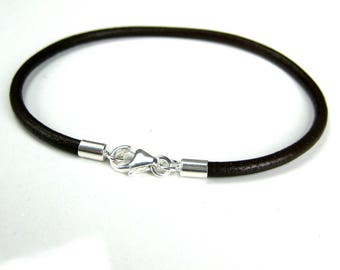 Mens leather bracelet and sterling silver N1582