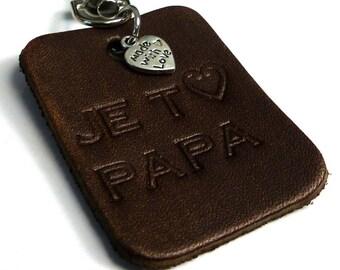"""I you love Daddy"" N5229 custom leather keychain"