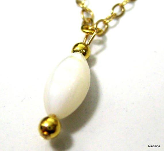 Chaine de taille plaqué or (gold-filled) et nacre N2554 a42e878cd7dd