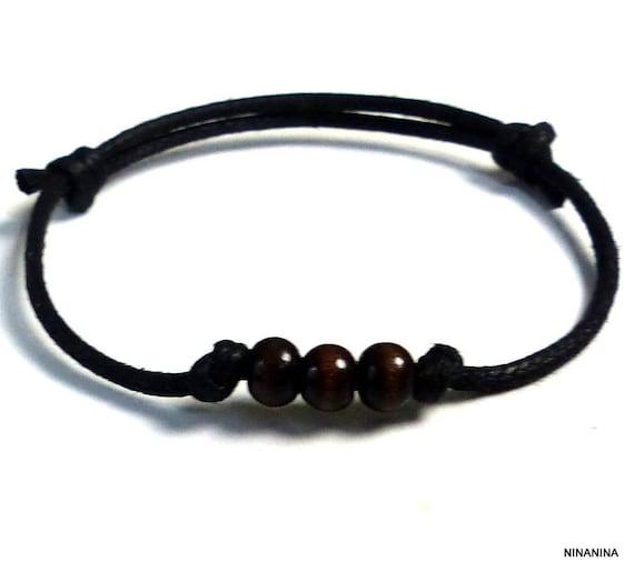 13bc7a01bfa5b Bracelet homme cordon coton ciré perles bois N5386   Etsy
