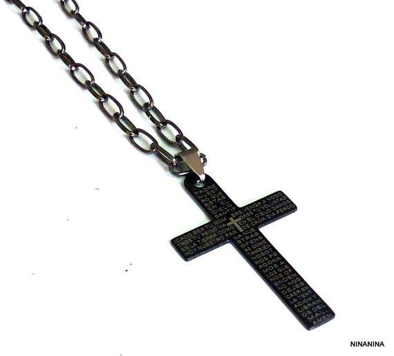 Collier homme croix acier inoxydable N3062   Etsy 1bbb89c6335c