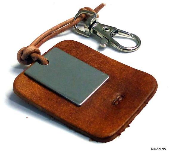 Porte-clé homme cuir personnalisé sigle infini N5368   Etsy bde8720ac70