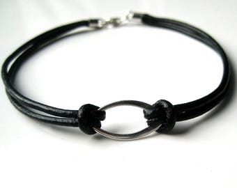 Mens leather bracelet and 925 N2981