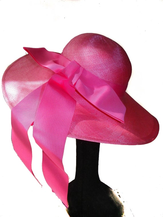 Wide Brim Straw Hat In Vivid Pink - image 6