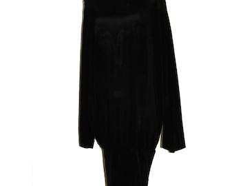 Black Sheath In Textured Silk Blend With Lycra