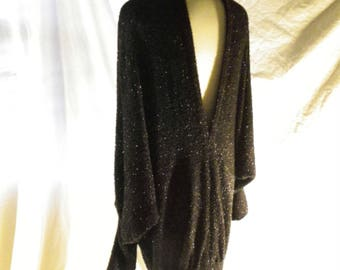 Black Sheath In Textured Wool Knit Blend With Lycra