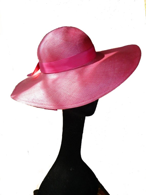 Wide Brim Straw Hat In Vivid Pink - image 1