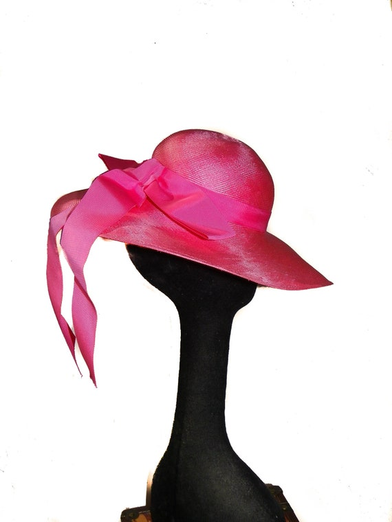 Wide Brim Straw Hat In Vivid Pink - image 4