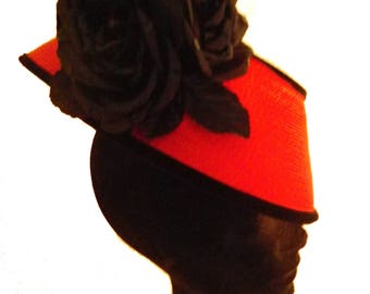 Fascinator In Red Straw With Black Velvet And Flowers