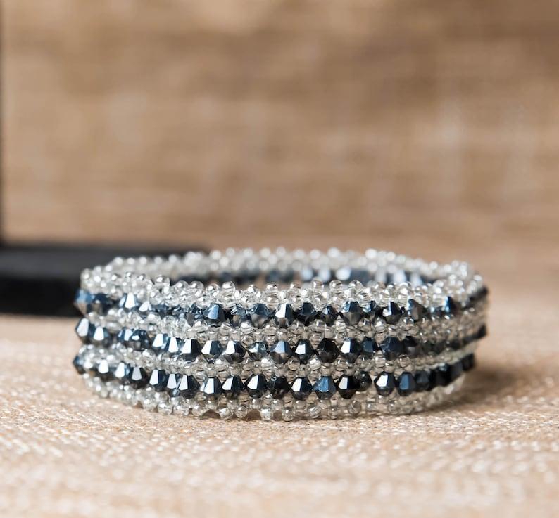 Black and silver beaded bracelet image 0