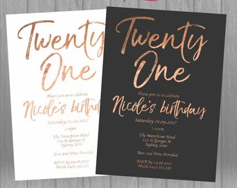 21st Birthday Invitation Rose Gold Foil Look Twenty One 21 Invite Printable