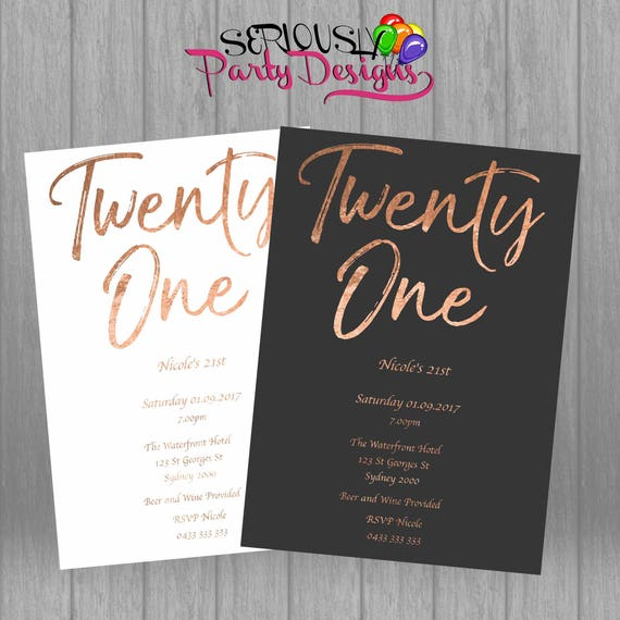 21st Birthday Invitation Rose Gold Foil Look Twenty One