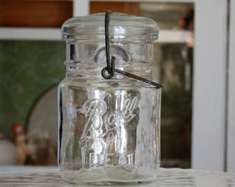 Vintage Ball Ideal Jar with Wire Bail Closure and Glass Lid, Home Decor, Kitchen/Bathroom/Office/Craft Storage