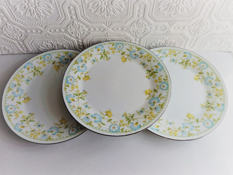 Vintage China Shower Wedding Tea Party Blue and Yellow China Set of 3 Noritake Bread /& Butter Plates Flourish Pattern