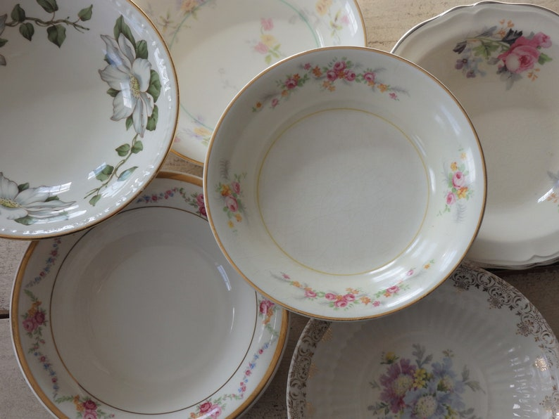 Set of 6 Mismatched China Small Dessert Pudding Fruit Bowls Shower Wedding Tea Party Dishes,Knowles Laughlin Royal China Gosser Crooksville