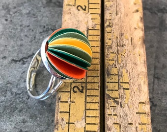 Colourful domed ring, adjustable silver ring, colorful jewelry, paper jewellery, paper jewelry, first anniversary gift, mothers day ideas