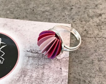 Pink adjustable domed ring, colourful silver jewellery, paper jewellery, paper jewelry, first anniversary gift, mothers day ideas, statement