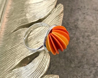 Orange and yellow adjustable ring, silver jewellery, paper jewellery, paper jewelry, first anniversary gift, mothers day ideas, statement
