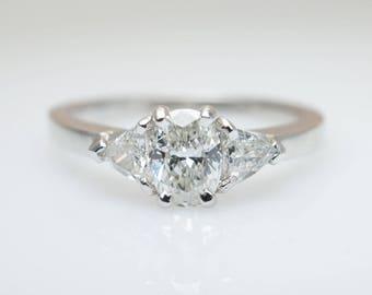 3 Stone .77CTW Diamond Engagement Ring in 14K White Gold