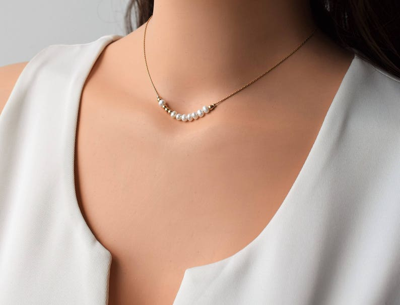 Gold Pearl Necklace Minimalist Gold Necklace 14K Gold Filled Necklace Layering Gold Necklace Pearl Gold Necklace Pearl Dainty Necklace