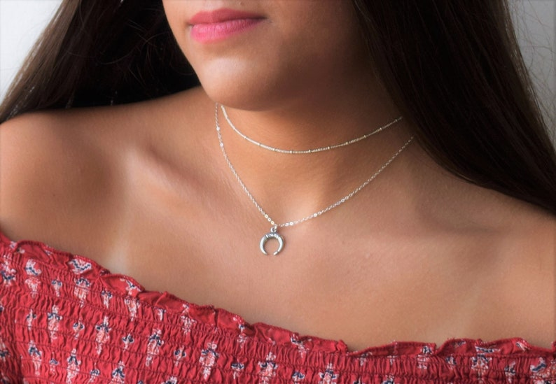 Set Of 2 Layered Necklace Horn Necklace,Sterling Silver Choker,Sterling Silver Necklace Horn Necklace,Layered Necklace,Silver Horn Pendant