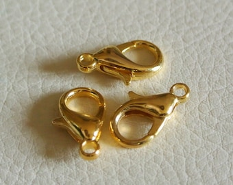 20 lobster claw clasps Golden 14 x 8 x 4 mm gold metal