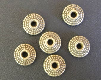 Set of ten pretty spacers saucer metal bronze color, beautiful patterns, 8 x 6 mm, hole: 2 mm