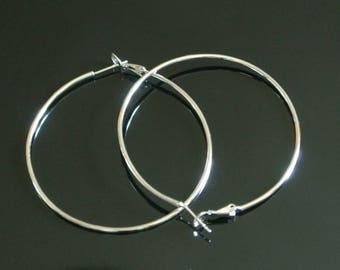 Pair of large hoop earrings, 55 x 50 mm in silver for pierced ears