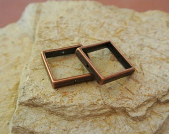 Set of 2 Pearl frames with square shape copper metal, 20 x 20 mm inside width of the frame: approximately 15 mm, hole