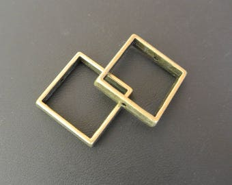 Set of four Pearl frames with square bronze metal, 20 x 20 mm, hole: approx: 0.7 mm